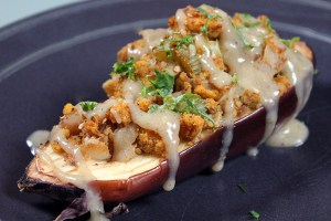Mary's test kitchen creates a beautiful roasted eggplant with gluten-free cornbread stuffing
