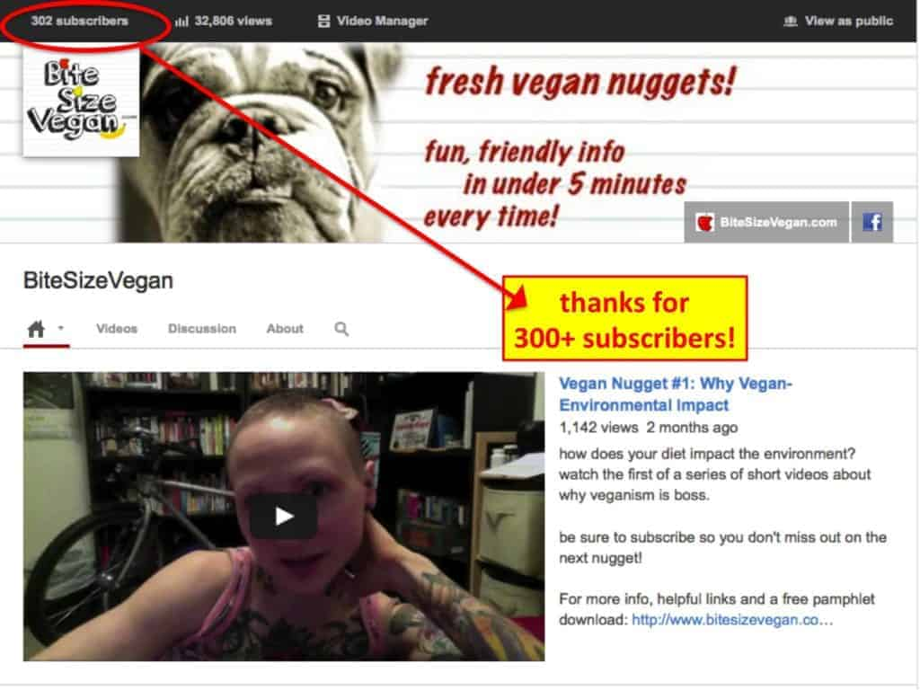 Screen capture from when Emily Moran Barwick of Bite Size Vegan was saying thank you for three hundred and two subscribers.