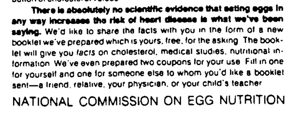 Sample National Commission on Egg Nutrition Advertisement