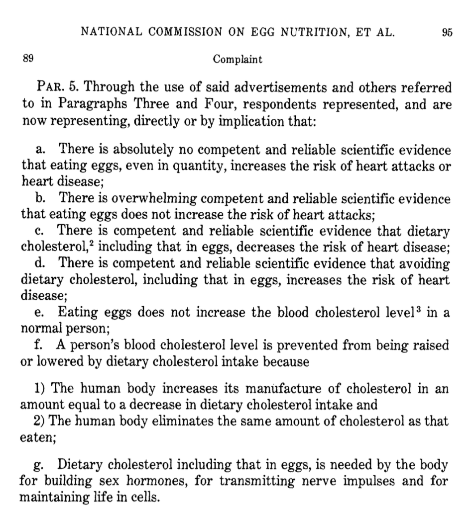 False Claims Made by the National Commission on Egg Nutrition