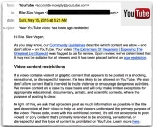 YouTube Email Age Restriction Vegan Discrimination