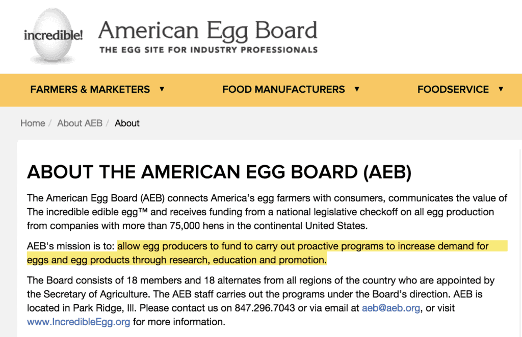 """An extract from the American Egg Board.  A highlighted section states """"Allow egg producers to fund to carry out proactive programs to increase demand for eggs and egg products through research, education and promotion."""