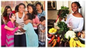 The image is in two halves. Haile Thomas, health advocate and the founder of the Happy Organization is in both halves. On the left she is smiling and surround by happy children. On the right Haile, again smiling, is seated surround by a bounty of colorful fruit and vegetables.