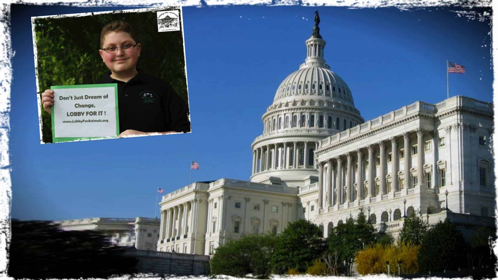 """Thomas Ponce, a twelve year old school boy and animal activist at the time the photograph was taken, is shown in an insert image holding up a small sign saying """" Don't just dream of change, lobby for it. www.LobbyForAnimals.org"""" . The background image is one of the congress building in Washington DC."""