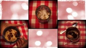 In close-up, three different images are shown. Each image displays a different flavour of vegan ice cream.