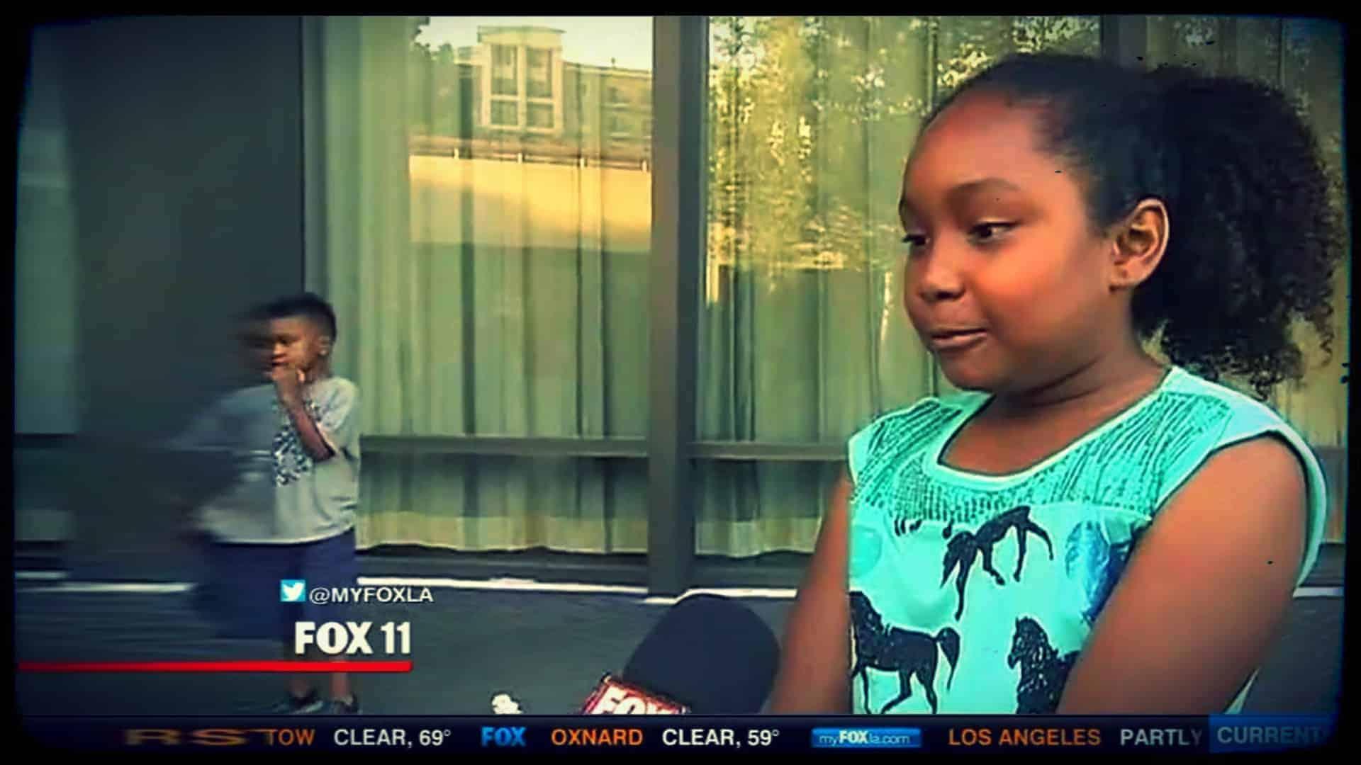 Genesis Butler, named PETA's Cutest Vegan Kid 2015, is shown being interviewed by Fox11 news.