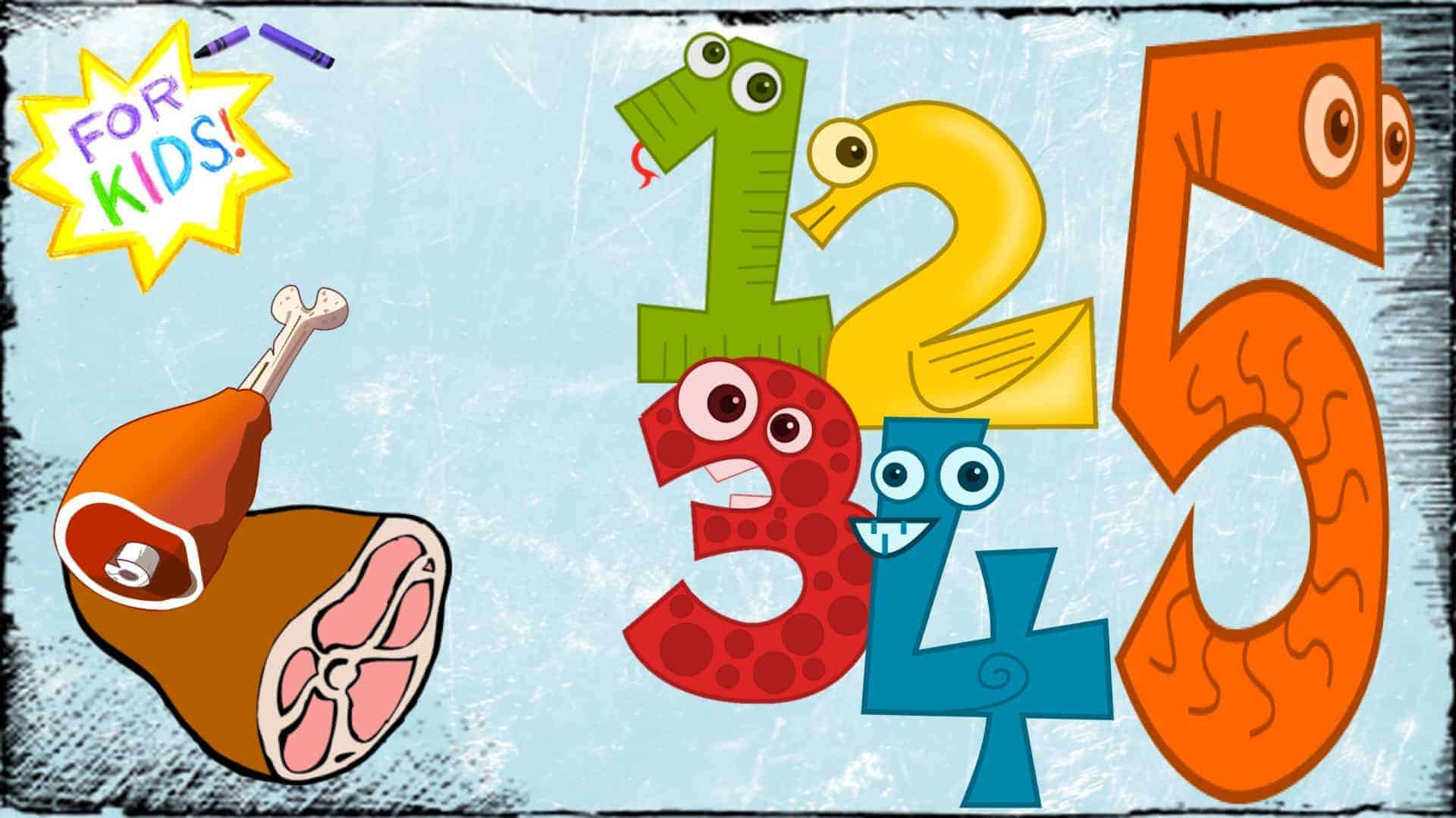 """A white and yellow star is shown in the top left-hand corner. The appearance is one rendered in crayon. Across the center of the star are the words """"For Kids"""". Below the star are two cartoon """"meat"""" cuts. On the right, in bright colors are the numbers one to five in cartoon form."""
