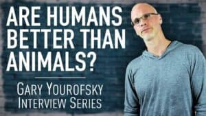 """Author and vegan activist Gary Yourofsky is shown along side the words """"Are humans better than animals? - Gary Yourofsky interview series"""""""