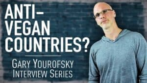 """Author and vegan activist Gary Yourofsky is shown along side the words """"Anti-vegan countries - Gary Yourofsky interview series"""""""