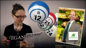 Emily Moran Barwick of Bite Size Vegan is shown filling in a Bingo card. Next to her is an image of a number of colorful bingo balls, one of which is labeled B12. Dr. Greger of NutritionFacts.org is seen as an inset photograph on the right.