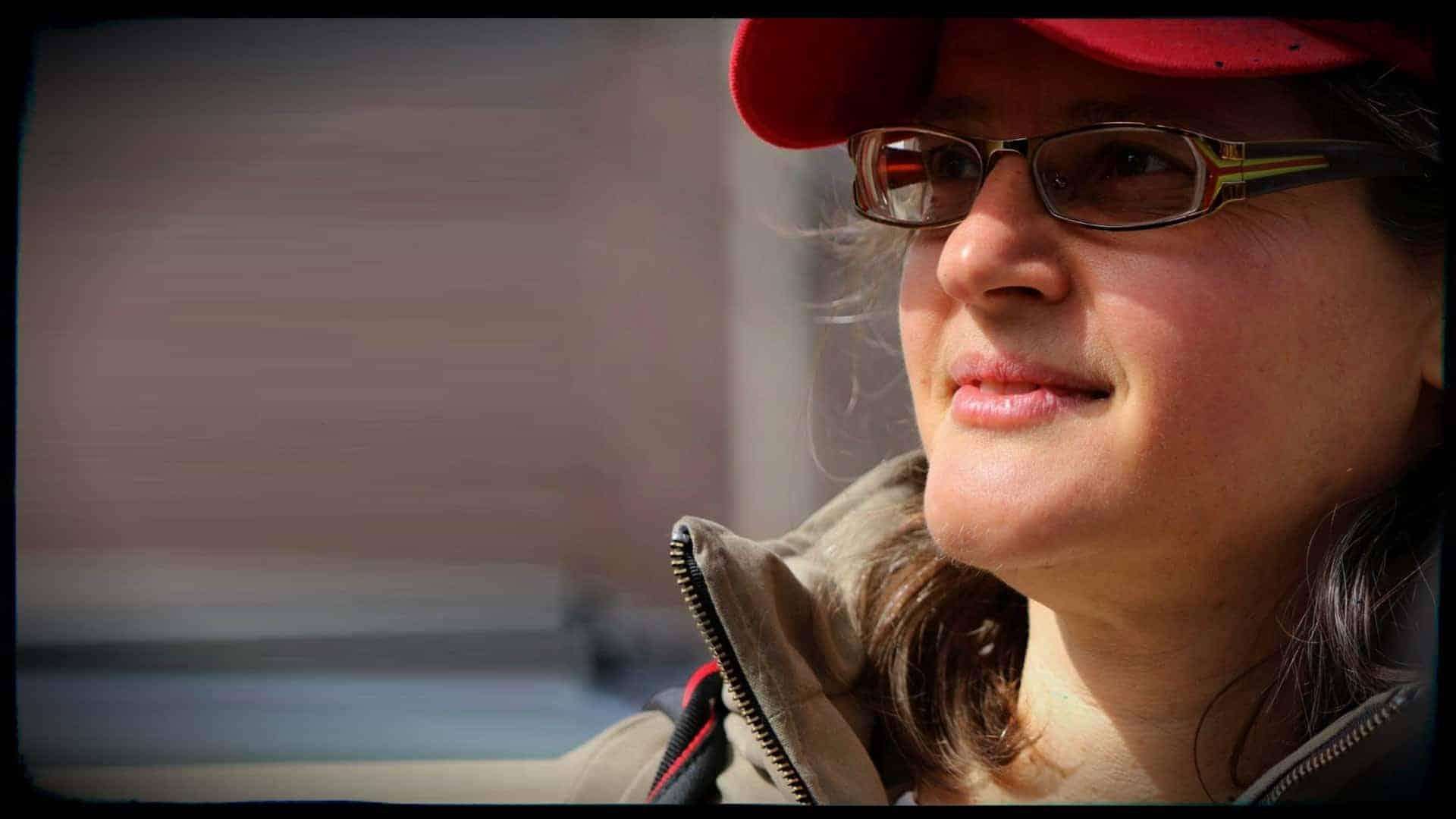 Anita Krajnc Co-Founder Toronto Pig Save is shown in three quarter profile.