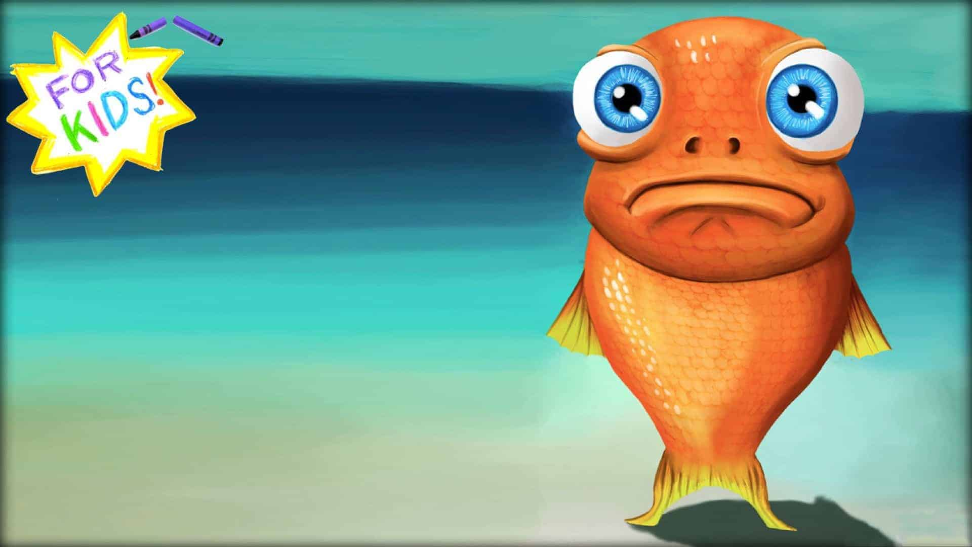 """A cartoon goldfish with sad eyes and downturned mouth is stood upright. Using the tips of its tail as feet. It is looking directly into the camera. In the top left hand corner is a yellow and white star, rendered in crayon with the words """"For Kids"""" across the center."""