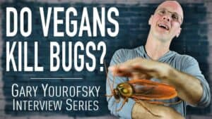 """Author and vegan activist Gary Yourofsky is shown along side the words """"Do vegans kill bugs? - Gary Yourofsky interview series"""""""