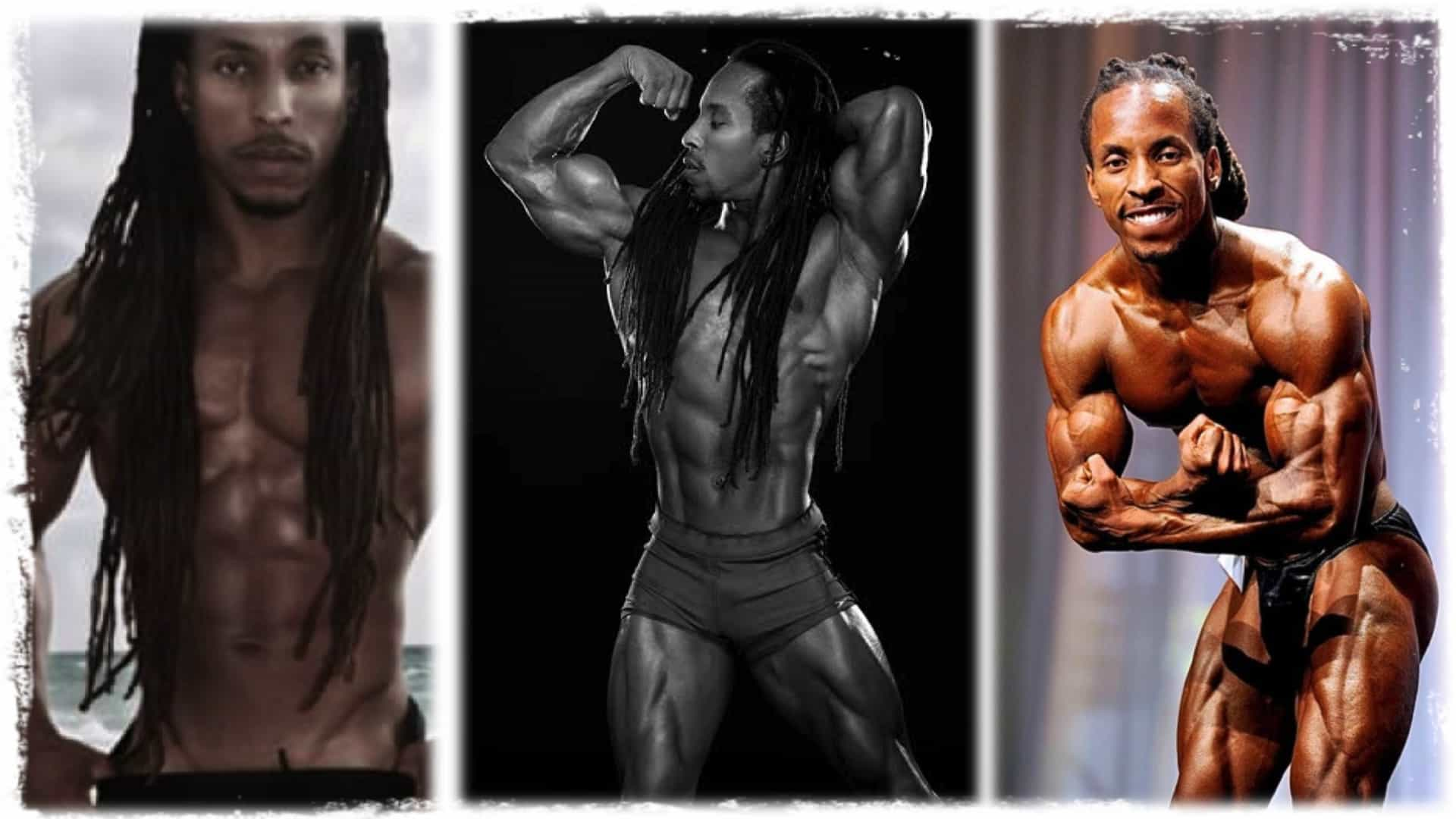 Body builder Torre Washington is shown in three different images. In each he is seen in a body building pose showing a incredible physique.