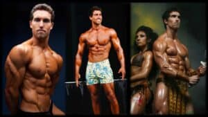 Body builder Derek Tresize is shown three times. In the last he is along side his wife Marcella Torres, who is also a body builder. In each of the images, Derek is in a bodybuilding pose. In the last image, Derek is back to back with his wife as they both strike a pose.