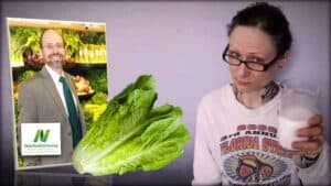 Dr. Greger of NutritionFacts.org is seen as an inset photograph on the left. In the center is an image of a vibrant lettuce. On the right is an image of Emily Moran Barwick of Bite Size Vegan holding a glass of milk.