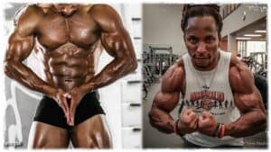Pro Bodybuilder Torre Washington is shown twice. On the left he is on stage in a bodybuilding pose. The solid muscles of his torso and arms on display. On the right, he is in the gym, his arms curled showing highly defined and sculptured arm muscles.