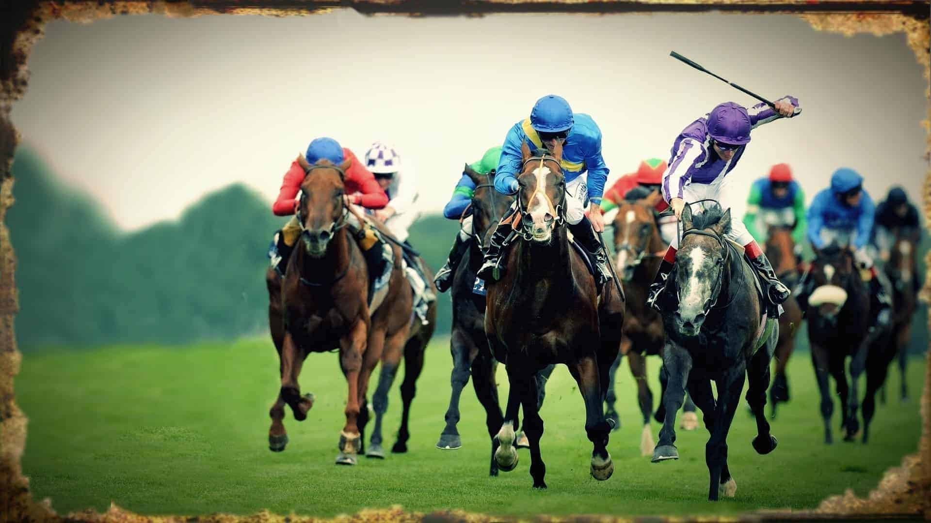 A still from a horse racing track of horses galloping forwards with jockeys crouched on top them. One jockey has raised his whip above his head in order to strike the horse beneath him with maximum force.