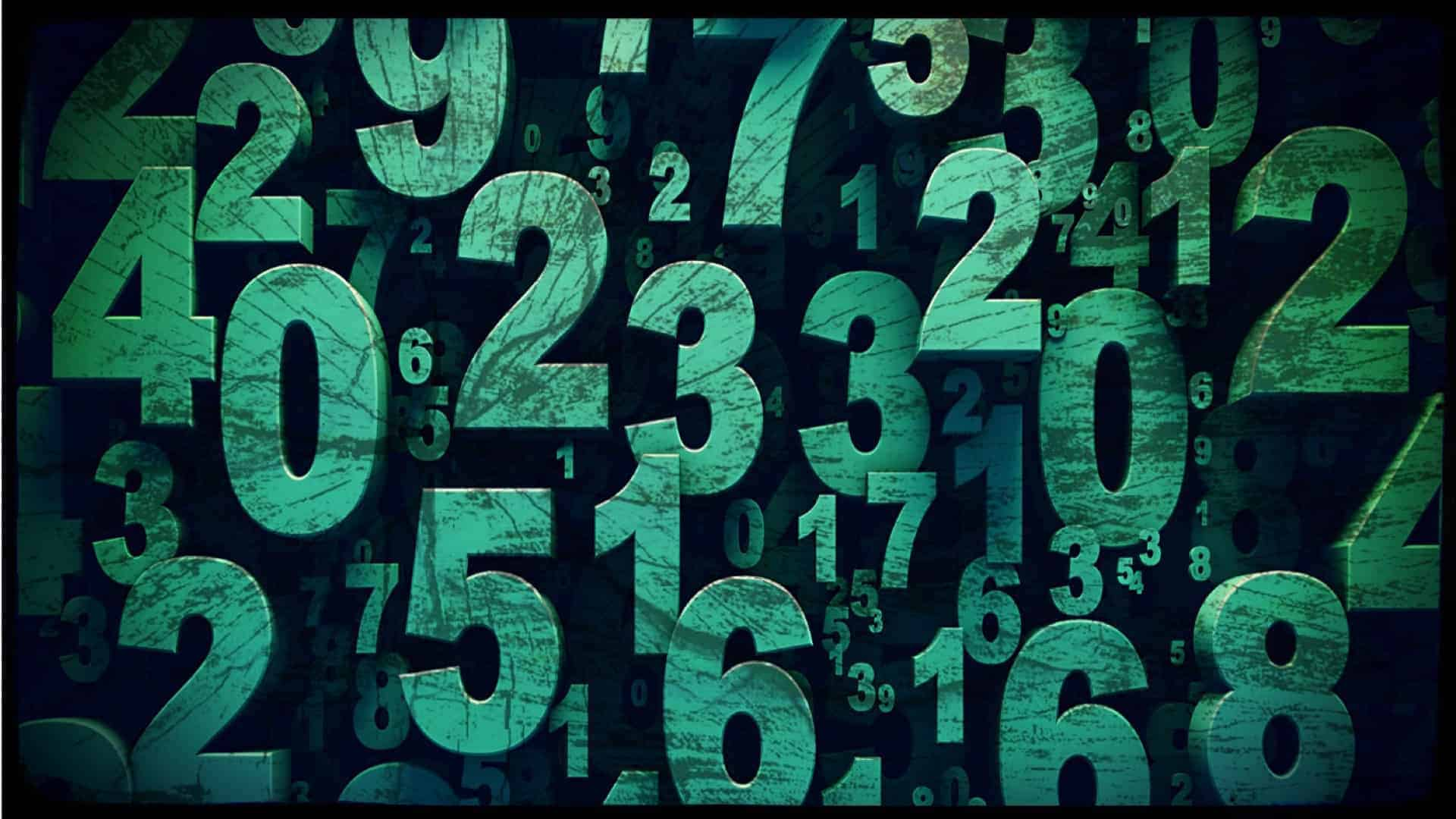 A large random in size, value and position set of green numbers are shown against a dark background.