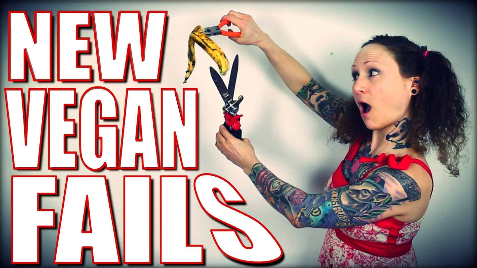 Emily holding an old partially peeled banana with pliers while chopping it with a pair of sheers. Large white text that says New Vegan Fails outlined in red