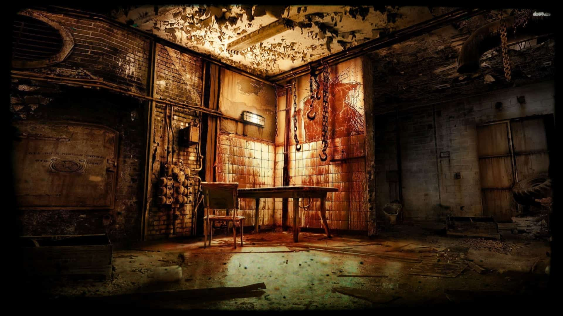 The view is that of the corner of a room, supposedly that of a slaughter house. The floors and walls are covered in blood. There is detritus everywhere and numerous metal chains and hooks.