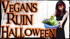 """Emily Moran Barwick of Bite Size Vegan wearing a black wig with red streaks, black lipstick, and a black dress, extendng a bowl of lettuce towards would-be trick-or-treaters next to the text """"Vegans Ruin Halloween"""""""