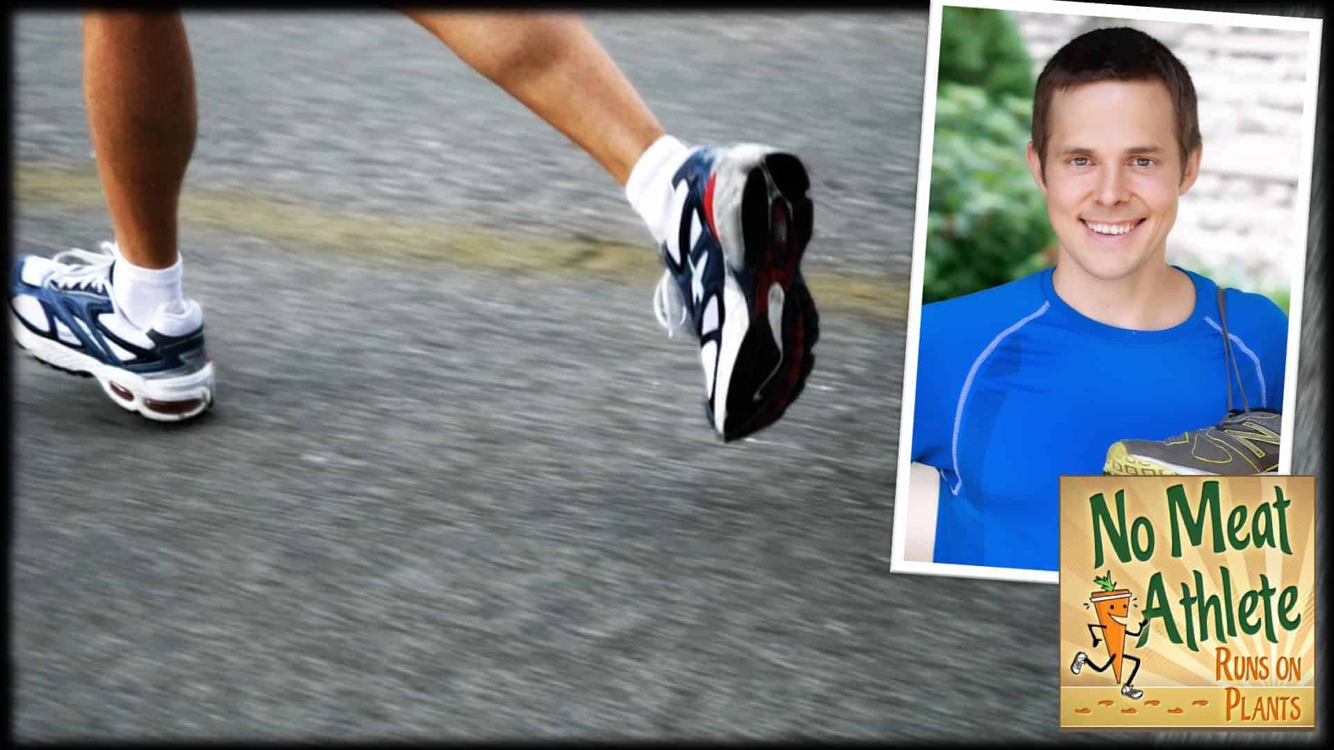 A close-up of a person's feet in running shoes are shown in the process of running on tarmac. An inset photograph of Matt Frazier, founder of the virally popular blog No Meat Athlete is shown on the right. Below is the No Meat Athlete logo.