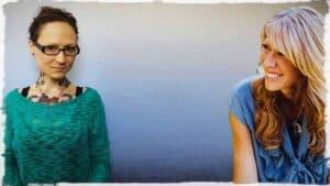 "Shown along side Emily Moran Barwick of Bite Size Vegan is Colleen Patrick-Goudreau, the self-appointed ""joyful vegan,"""