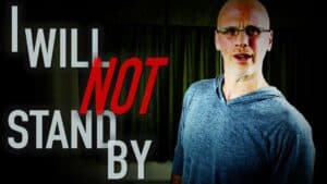 """Author and vegan activist Gary Yourofsky is shown along side the words """"I will not stand by"""""""