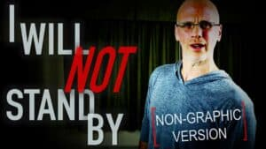 """Author and vegan activist Gary Yourofsky is seen next to the words: """"I will not stand by."""" Overlaying the image of Gary are the words: """"Non-graphic version""""."""