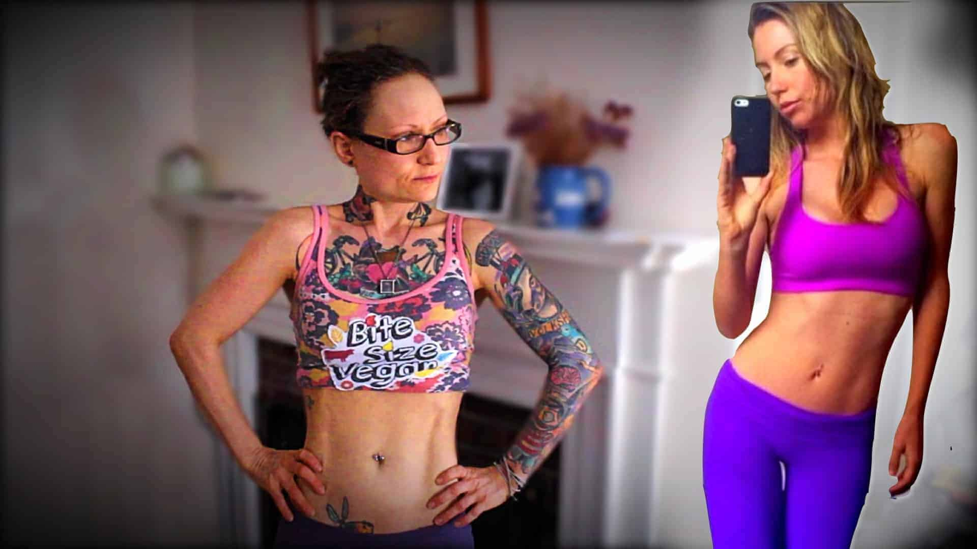 Emily Moran Barwick of Bite Size Vegan is shown in an exercise outfit. She is looking towards her left as if looking at the merged image of Freelee the Banana Girl, also in an exercise outfit.