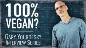 """Author and vegan activist Gary Yourofsky is shown along side the words """"100% vegan? - Gary Yourofsky interview series"""""""