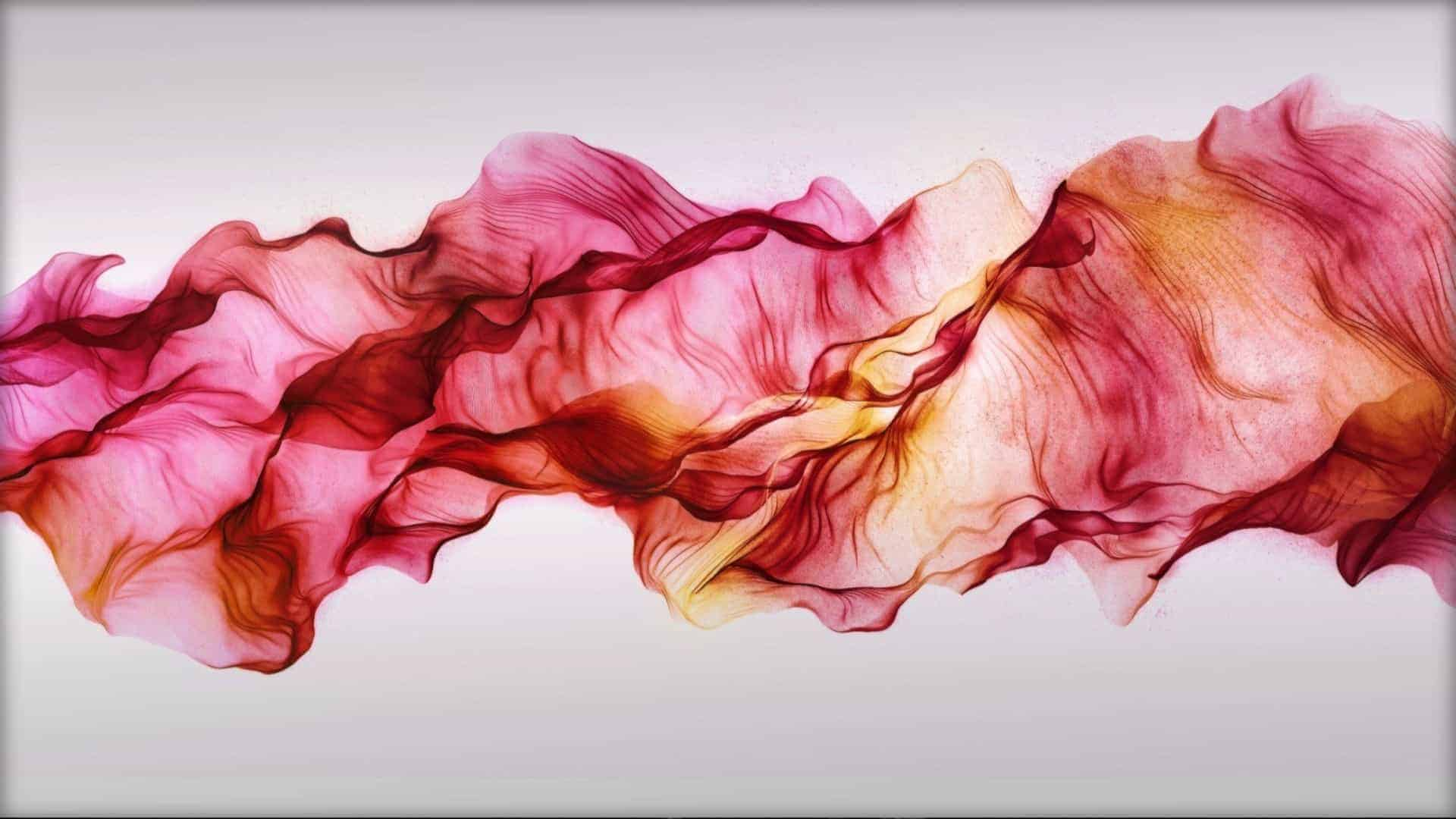 A swirl of translucent pink and yellow silk is shown flowing across the image as if floating.