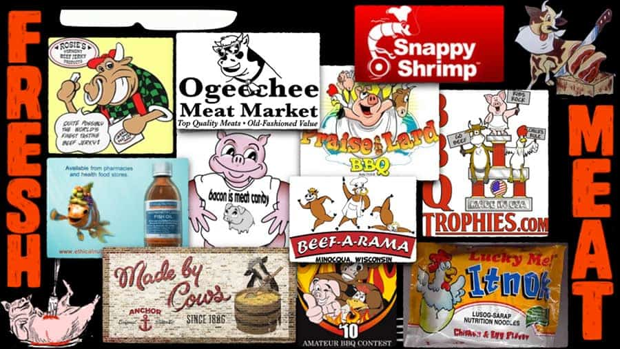 A range of product marketing images are shown.  In each one a happy cartoon animal is depicted. The words Fresh and Meat are written in large red script up and down the left and right edges.