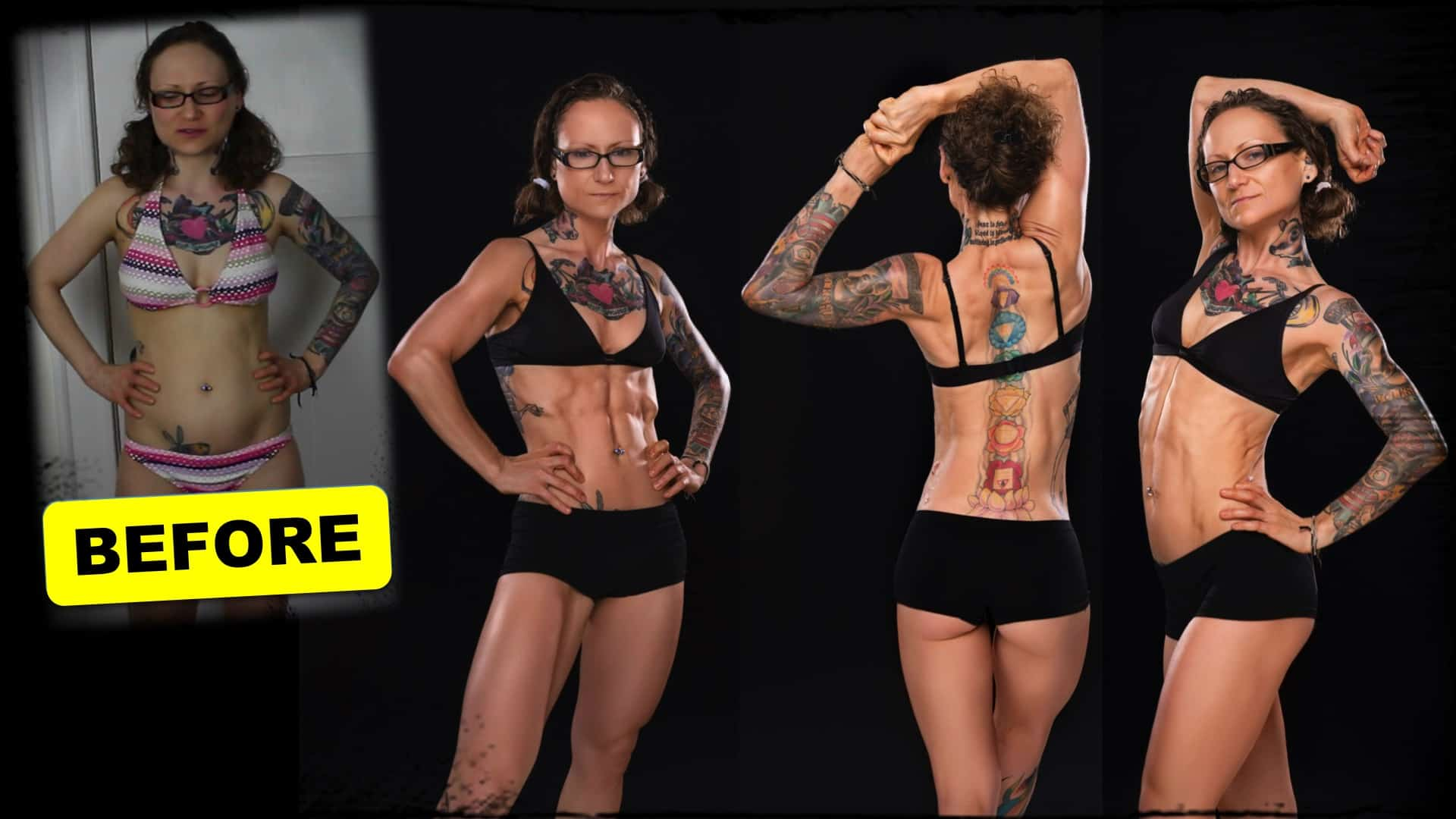"""Emily Moran Barwick of Bite Size Vegan is shown four times from her knees upward. The first image shows Emily in a bikini with the word """"before"""" below it. Emily is reasonably toned but does not display hard muscle. The other three images are similar in nature. In each, a later version of Emily is shown in a bodybuilding pose. Her magnificent physique is displayed to its best effect. Her muscles are hard and well defined."""
