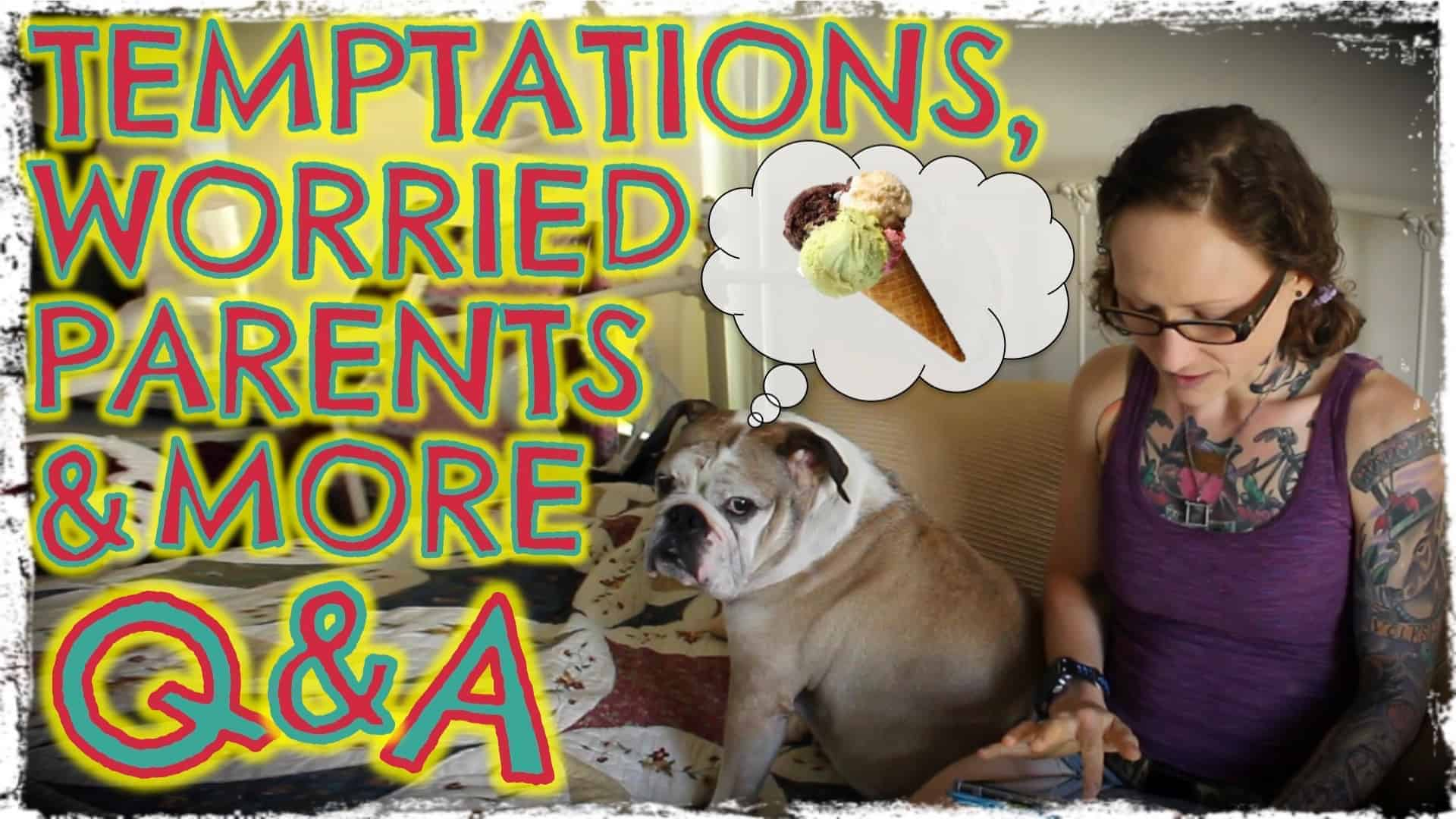 """Emily Moran Barwick of Bite Size Vegan is shown sat on a bed with her beloved bulldog, Ooby, next to her. She is reading from an iPad. Ooby has a thought bubble above his head with an ice cream cone in it. To the left in large letters are the words: """"Worried parents and more. Q and A""""."""
