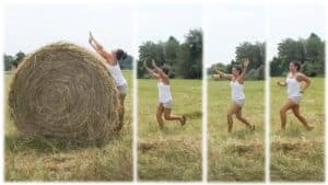 The image shows Renee, a friend and fellow bulldog-lover of Emily Moran Barwick of Bite Size Vegan. In four images, Renee can be seen as she attempts to jump over a large hay bail.