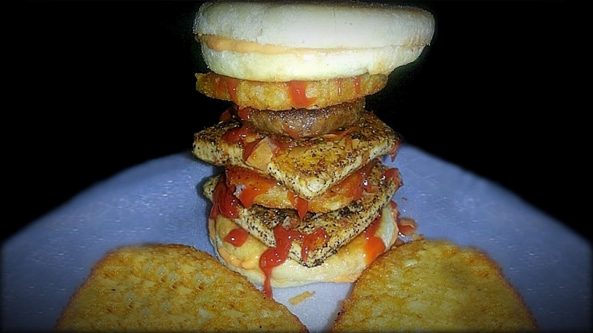 The image shows a close-up of a UnVcMuffin. A vegan creation of Andre aka The Unhealthy Vegan of Instagram fame.