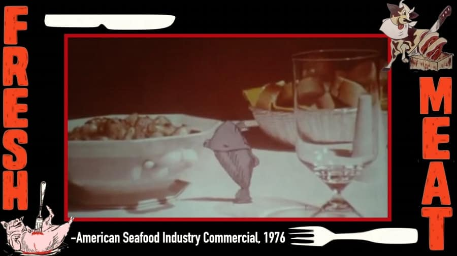 A screen shot of an American Seafood industry commercial from 1976