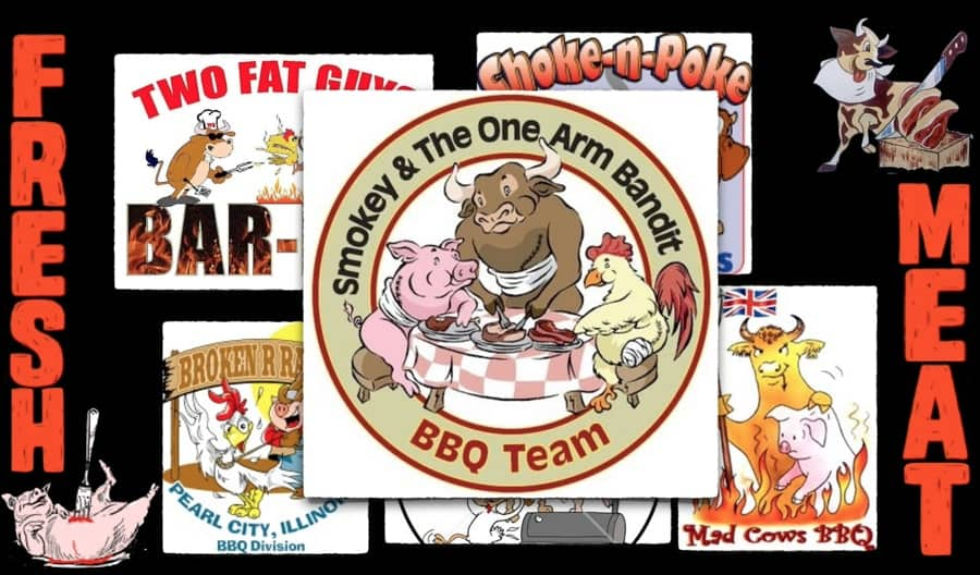 Various restaurant logos are shown, each depicting one or more animals enthusiastically consuming the flesh of other animals.