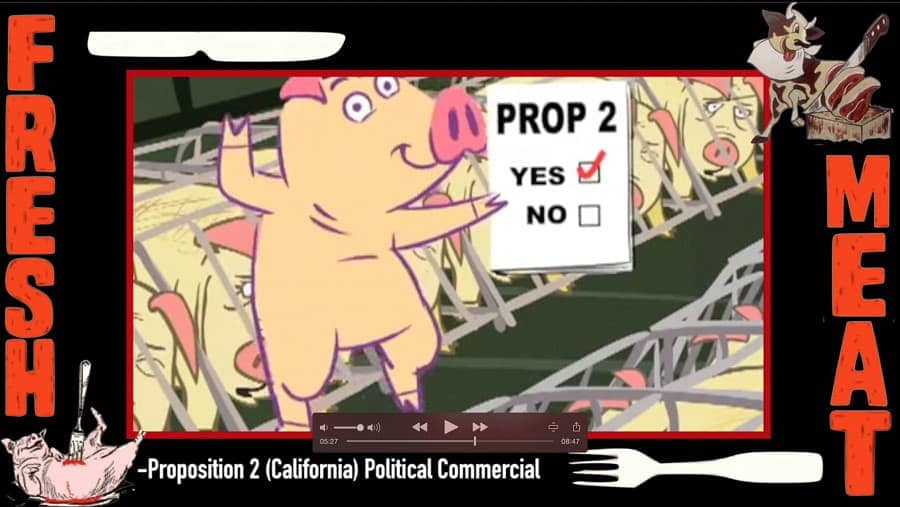 A screen shot of Proposition 2, A California political commercial