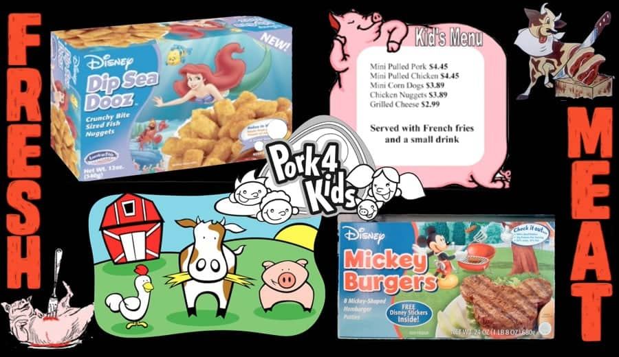 Various bright, colorful, happy images to try to encourage children to eat pork.