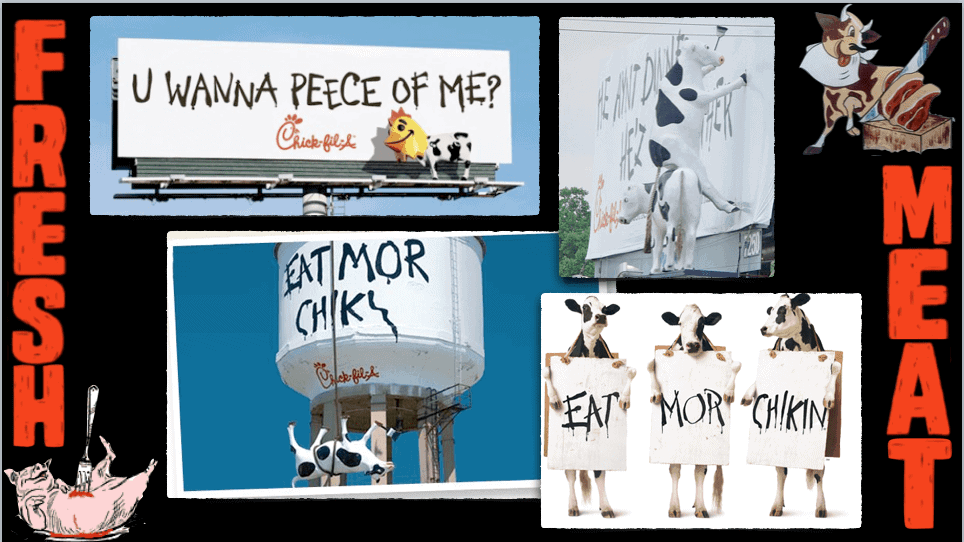 Animals encouraging humans to eat other animals.