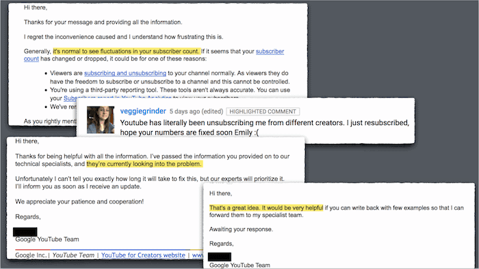 Email exchange with YouTube & unsubscribe comment from viewer