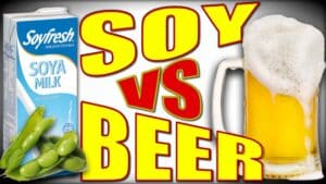 A carton of soy milk is shown along side a tankard of foaming beer. Between the two are the words Soy versus Beer.
