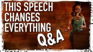 """Emily Moran Barwick of Bite Size Vegan is shown on stage behind a lectern. She is gesticulating with her arms. To the left of this image in large white letters are the words: """"This speech changes everything. Q and A"""""""
