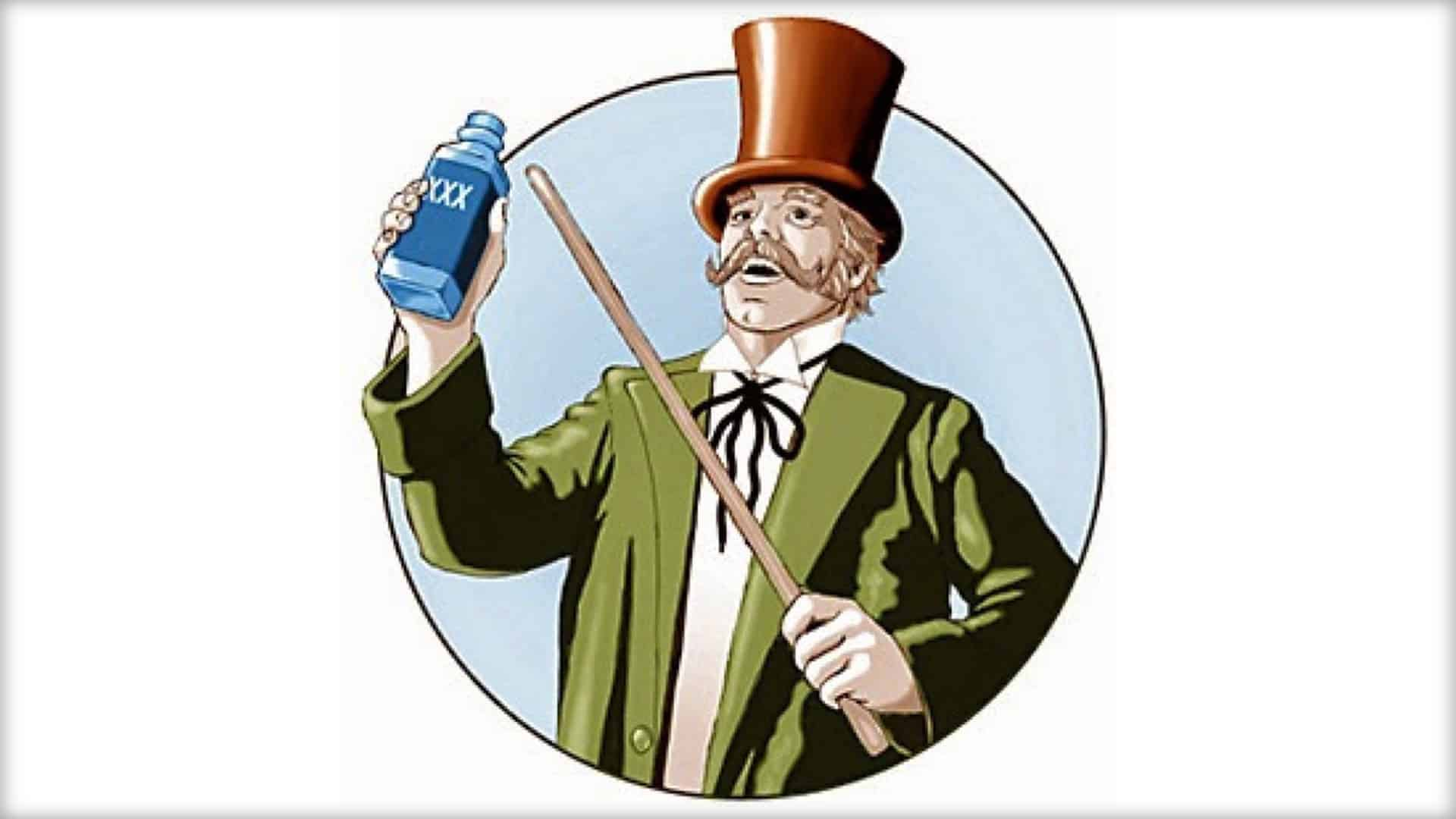 """A graphical image of a person on Victorian dress is seen holding up a blue bottle with """"XXX"""" written upon it. They are pointing at the bottle with a cane and appears to be proclaiming its benefits."""
