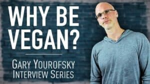 """Author and vegan activist Gary Yourofsky is shown along side the words """"Why be vegan? - Gary Yourofsky interview series"""""""