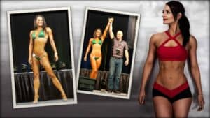 Vegan bikini athlete, Samantha Shorkey is shown three times. In the first, she is seen on stage, in a bikini athlete pose. In the second, she is along side another person that is holding her arm aloft as if declaring her the winner. In the last Image, Samantha is in a more relaxed pose.