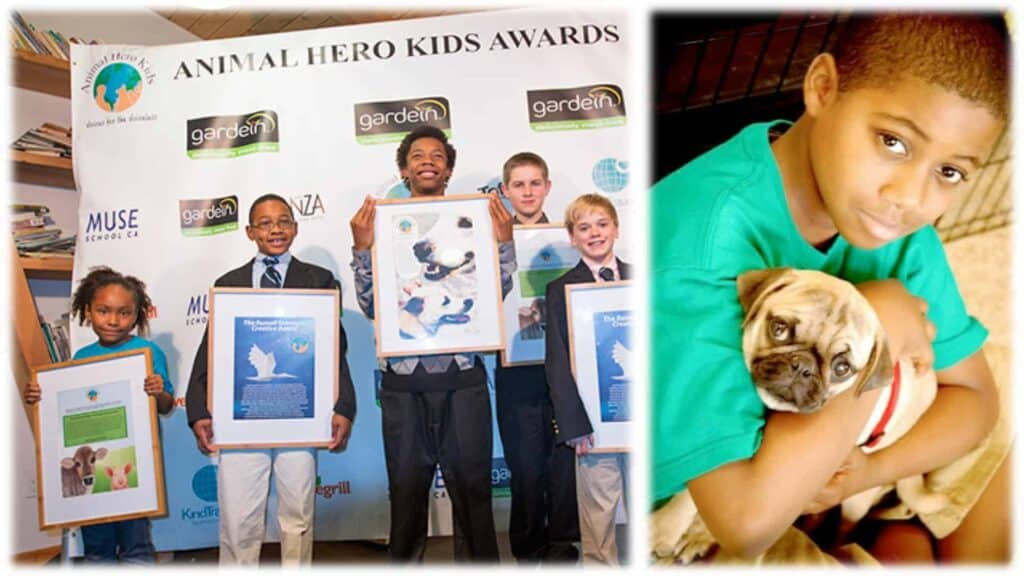 """The image is split in two. On the left five winners of the """"Animal Hero Kids"""" are shown on stage holding their certificates. On the right is a close-up of one of the winners cradling a pug dog to their chest."""